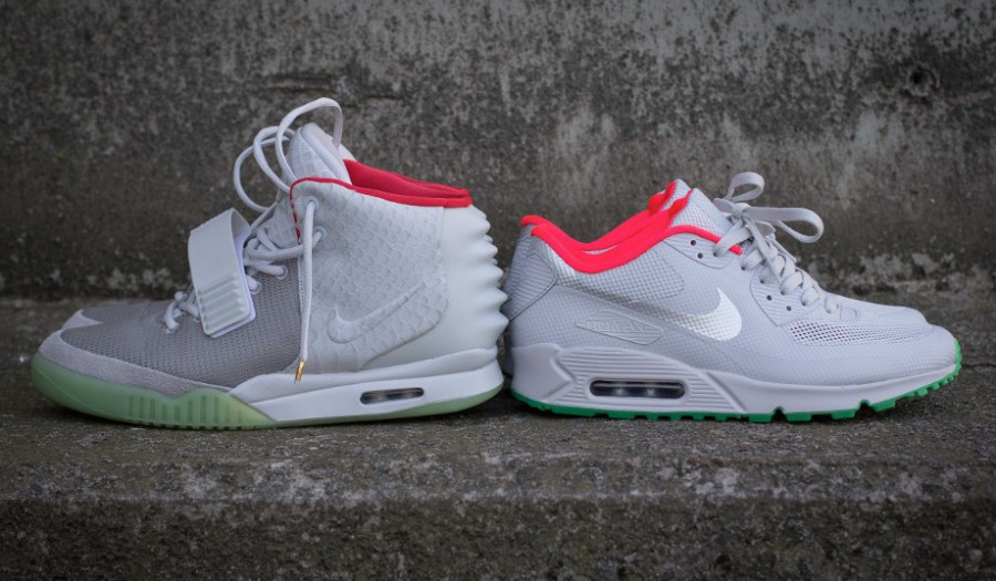 cheap for discount 0b361 3b08f ... id pure platinum ... nike air max hyperfuse yeezy  ON FEET Air Max 90  nike  air max 90 black and grey and white custom air max ...