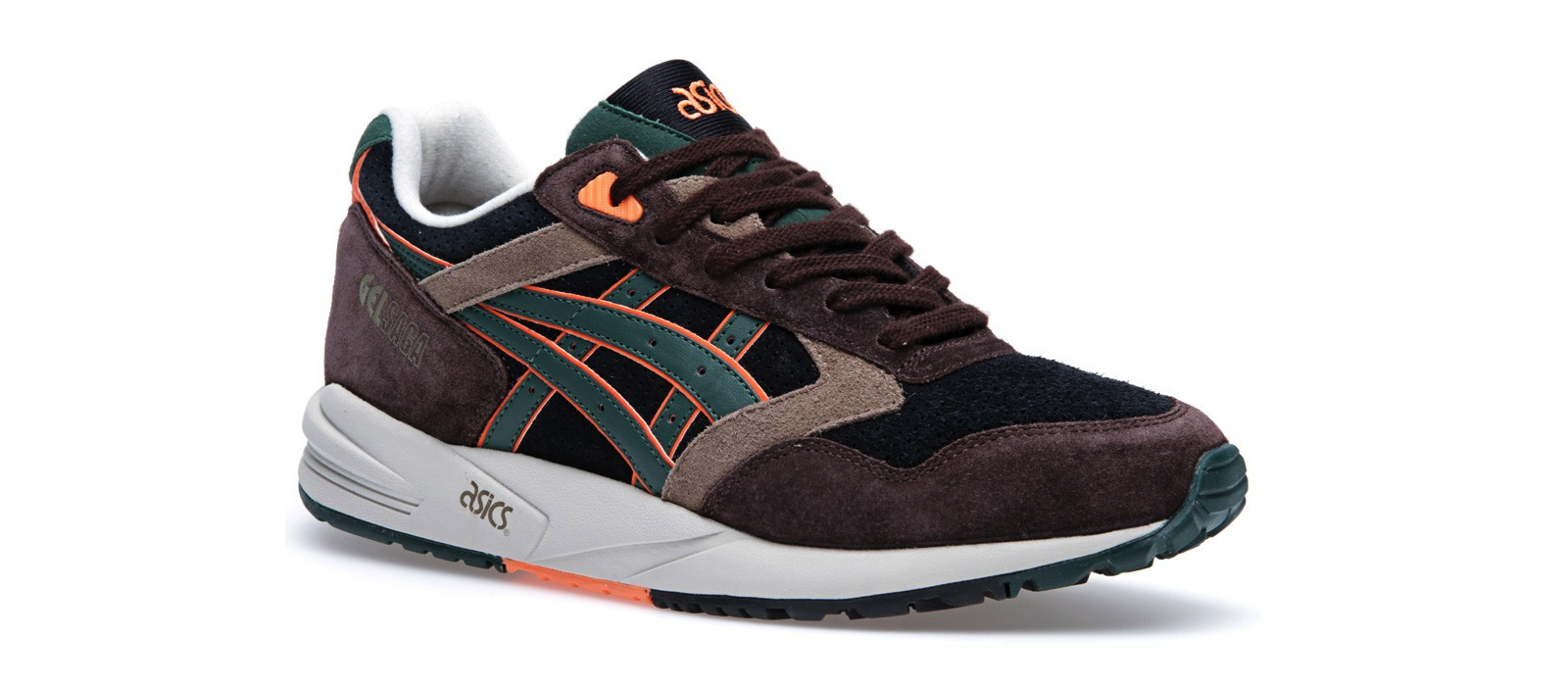 Asics Gel Saga Black, Brown and Dark Green