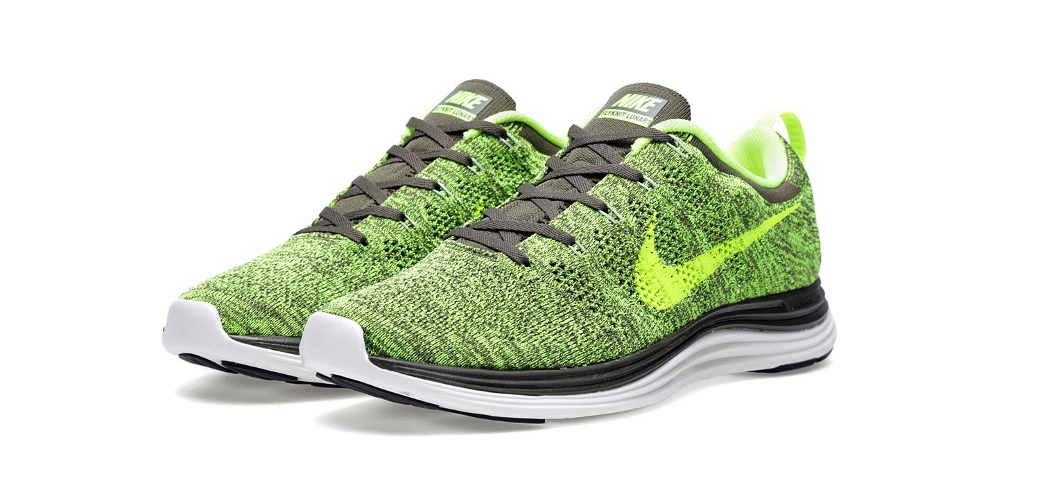 Nike Flyknit Lunar1+ Tarp Green and Volt
