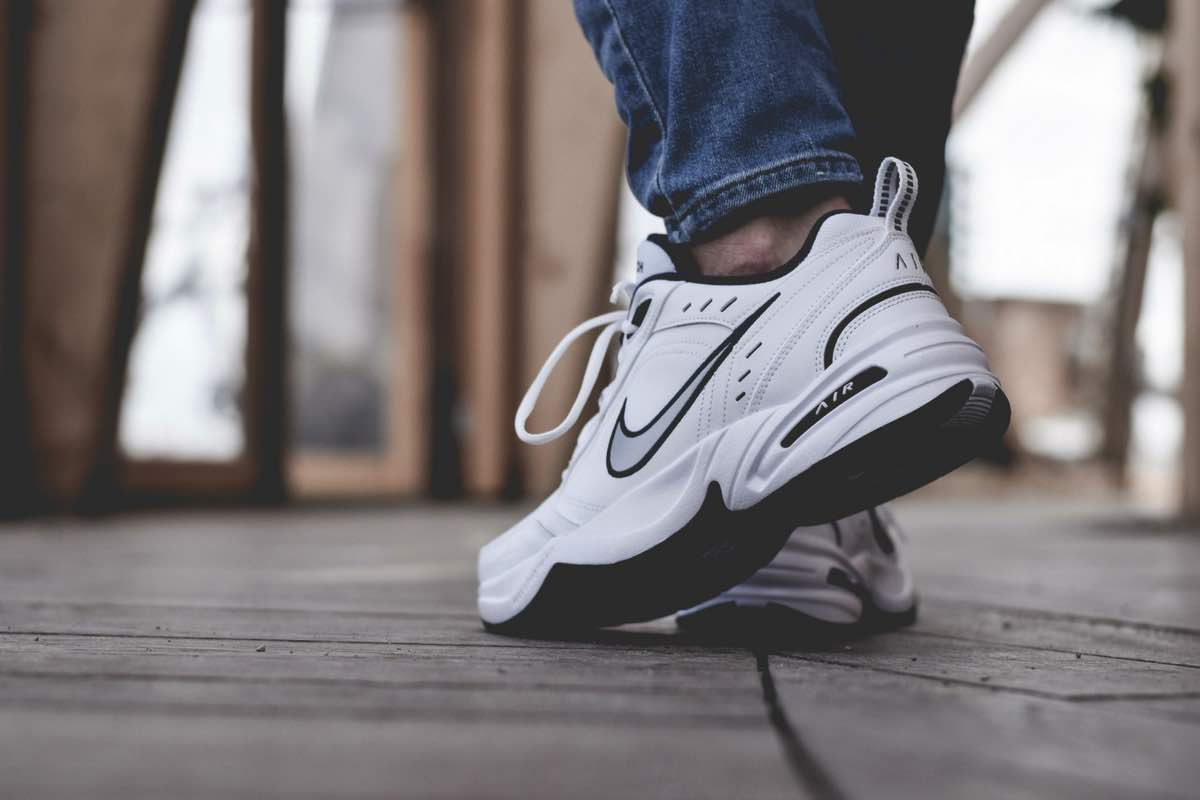 "On Feet: Nike Air Monarch IV ""White/Metallic Silver"""